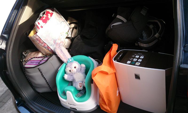 生後6ヶ月の子連れ1泊2日旅行時のトランク収納
